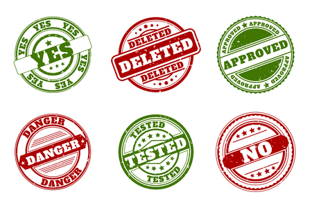 Grunge rubber stamps. Approved and deleted, yes and no, Tested and danger green and red vector stamps illustration