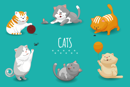 Vector cute kittens vector illustration. Set of cat and domestic cats playing Illustration