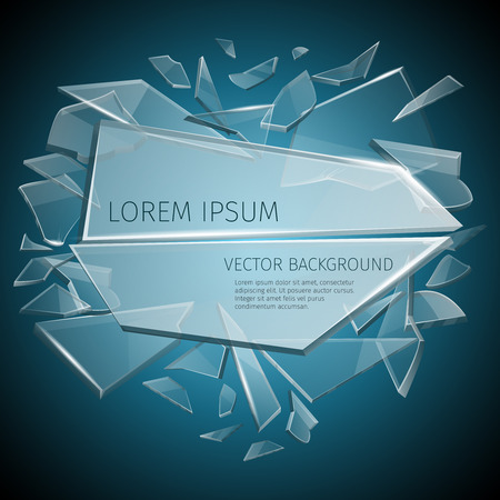 Broken glass label vector design. Part of glass transparent and template of glass for text illustration Illustration