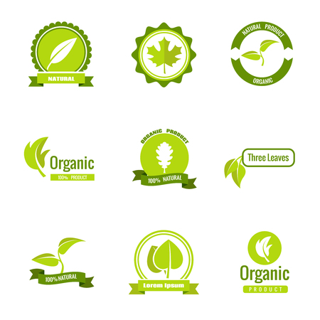 Natural, eco and organic products  with leaves. Set of nature green bio labels and icons. Vector illustration