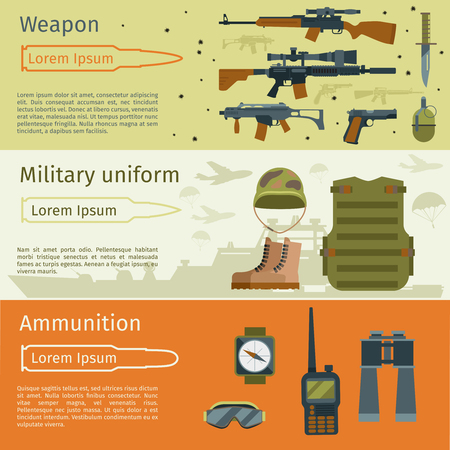 Military banners or army backgrounds set vector. Ammunition military and weapon with military uniform illustration Illustration