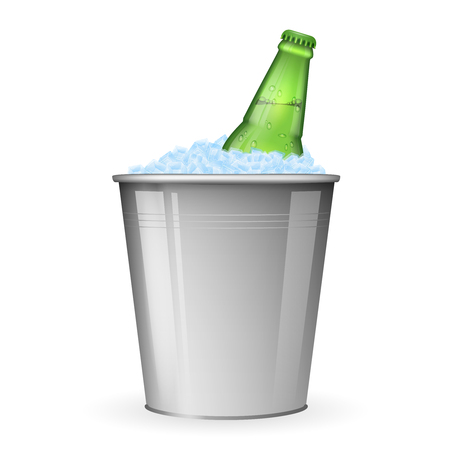 nonalcoholic beer: Beer on ice in metal bucket isolated on white vector. Bottle beer in ice, beverage beer in bucket with ice illustration