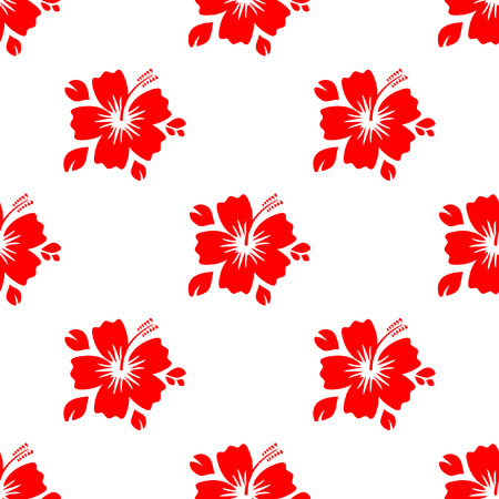 Seamless pattern with red flower. Background flat floral, vector illustration