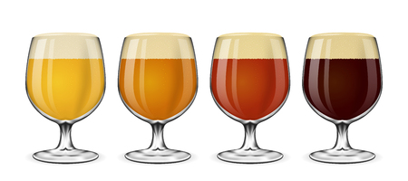 Beer glass vector set. Lager and ale, amber and  beer on white. Drink beer in glass illustration
