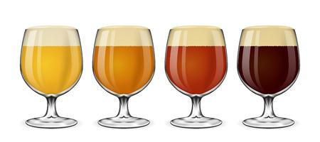 Bierglas Vektor-Set. Lager und Ale, Bernstein und Bier auf weiß. Trinken Bier in Glas Illustration