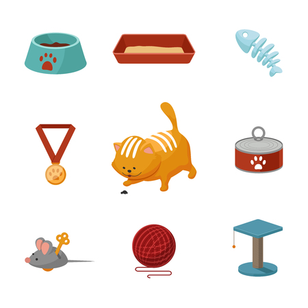 Domestic cat cartoon icons vector set. Animan cat illustration and accessories for care of cat
