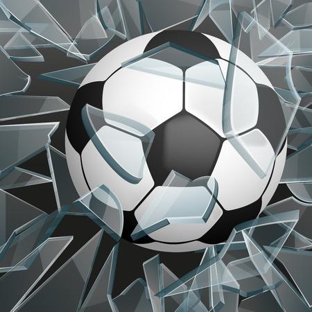 Soccer ball breaking glass vector illustration. Ball for game sport, ball for soccer or football