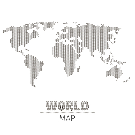 Hexagonal dots world map on white background vector illustration. World map in monochrome style, map for geography and visualization infographic