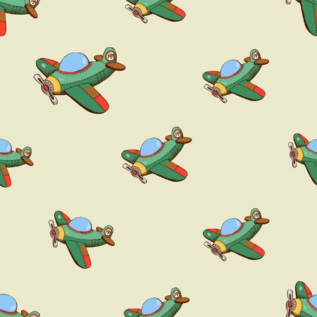 Seamless pattern with colored plane. Background with airplane, vector illustration Illustration