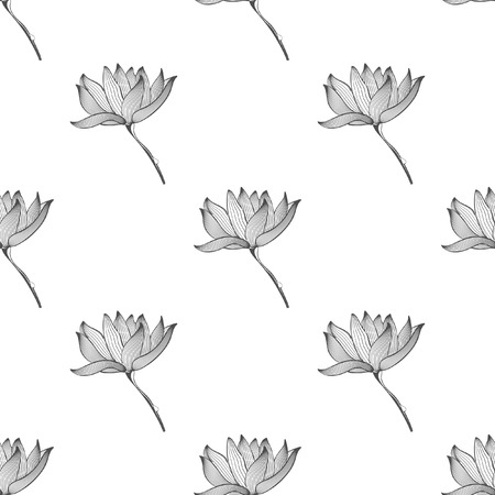 Seamless pattern with flower. Background art decoration with plant, vector illustration Illustration