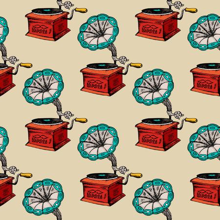 Retro gramophone seamless pattern. Vintage background music sound, vector illustration