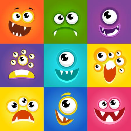 Monster expressions. Funny cartoon monster faces vector. Emotion monster flat illustration Illustration