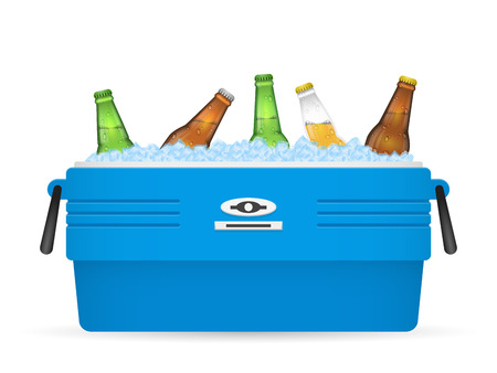 Beer ice cooler or beer ice box vector on white background illustration Çizim
