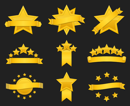 Vector award ribbon with gold star. Set of badge with star and ribbon, illustration golden star for award Illustration