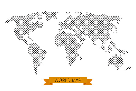 cartography: Vector world map cross dot. Global map for cartography, template map with black cross illustration