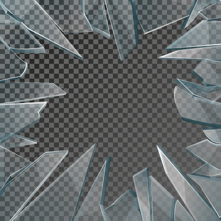 deflated: Broken glass window frame vector. Window glass broken isolated on checkered background, illustration damage glass with hole