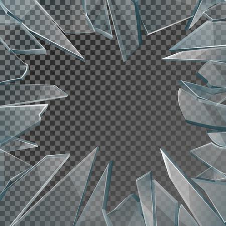 Los vidrios rotos vector marco de la ventana. cristal de la ventana rota aislados sobre fondo a cuadros, vidrio daños ilustración con orificio Foto de archivo - 64037497