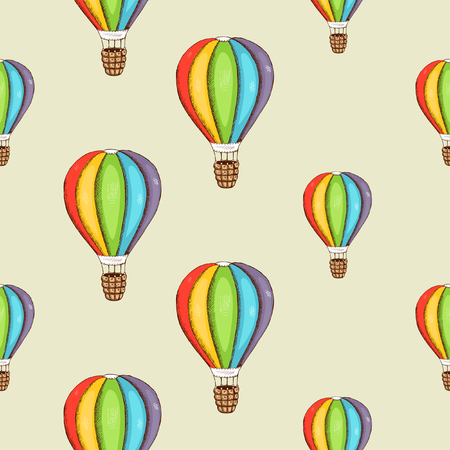 hot air ballon: Background with color air balloon. Colorful design seamless pattern. Vector illustration
