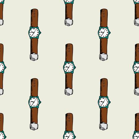 Pattern seamless with wrist watch. Fashion design clock, vector illustration Illustration