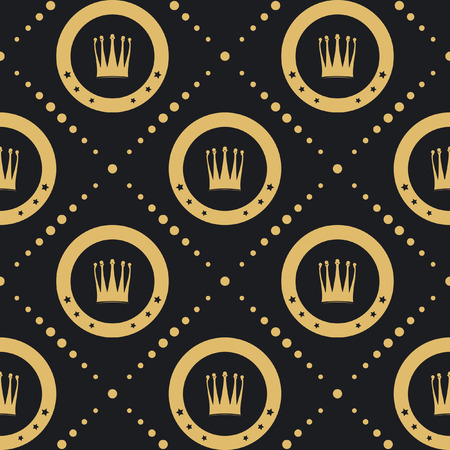 Crown golden pattern seamless. Vintage luxury classic background. Vector illustration