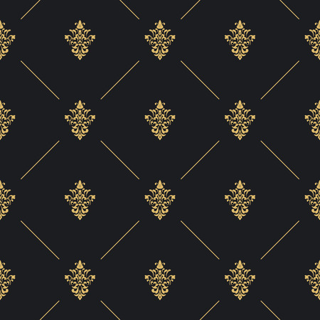 Seamless pattern decor with golden element. Wallpaper graphic backdrop, vector illustration