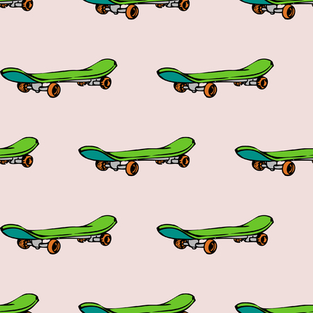 Seamless pattern with skate board. Skateboarding lifestyle activity, vector illustration