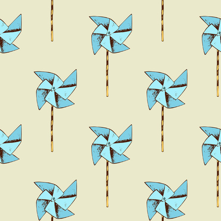 wind mill toy: Paper windmill pattern. Pinwheel toy and seamless background. Vector illustration