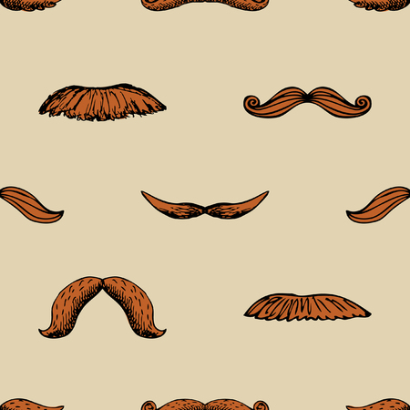 Seamless vintage pattern with mustache. Hipster background wallpaper. Vector illustration