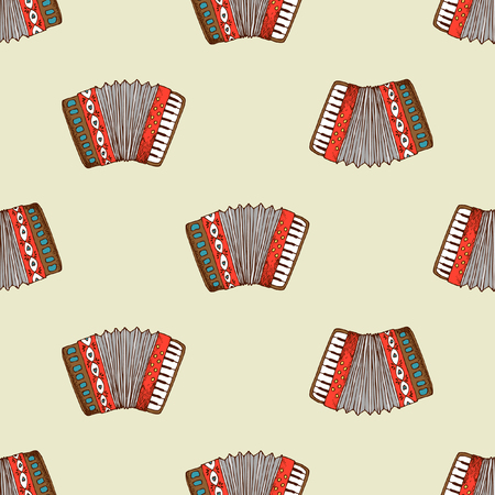 Seamless pattern with accordion. Background musical instrument wallpaper, vector illustration Illustration