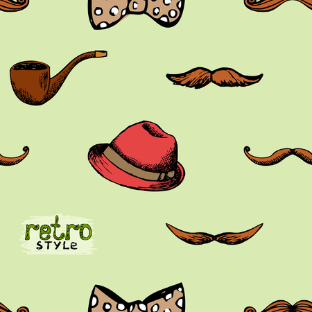 Pattern retro style hat and mustache. Seamless background hipster style. Vector illustration