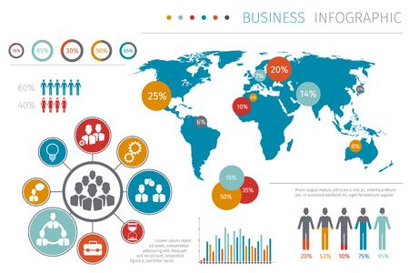 Zakenmensen wereldkaart infographic vector illustratie, Business kaart met element grafisch en grafiek. Sjabloonkaart met gegevensrapport Vector Illustratie