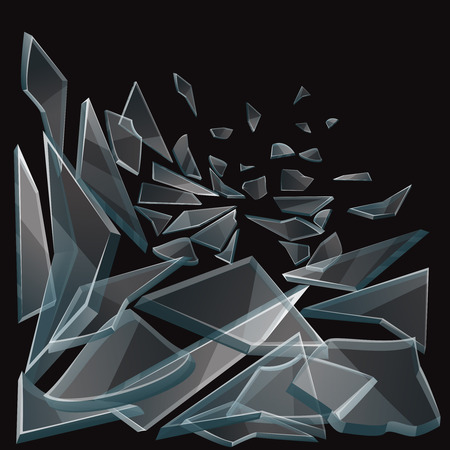 Broken glass pieces flow vector illustration. Set of glass pieces on black background and damage glass transparent Vettoriali