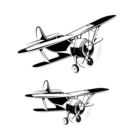 details: Aircraft silhouettes icons. Retro airplane with propeller, illustration of airplane in black color vector