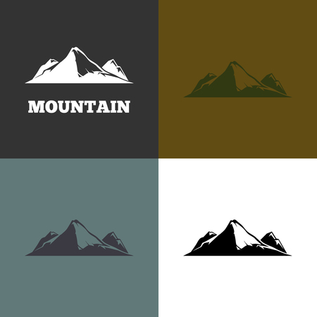mountain silhouette: Vector mountain silhouette. Set of emblems with mountain. Head of a mountain illustration Illustration