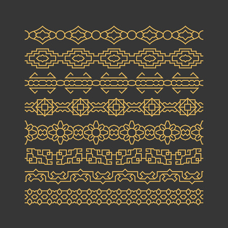 chinese border: Chinese border ornaments vector patterns. Set of linear traditional border for decoration. Illustration of chinese decoration Illustration