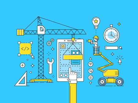 UI UX thin line mobile app development process. Construction of web design illustration