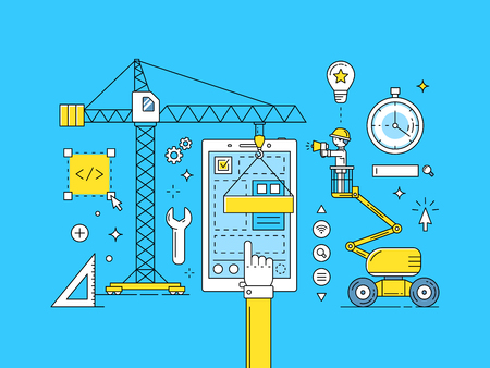 UI UX 얇은 라인 모바일 앱 개발 프로세스. 웹 디자인 일러스트 레이 션의 건설 스톡 콘텐츠 - 65841936