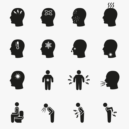 symptom: Diseases and sick icons. Vector set of symptom headache and fever illustration
