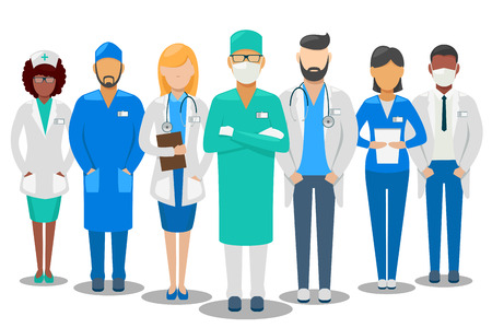 Medical good team. Hospital staff doctors and nurse. Vector illustration