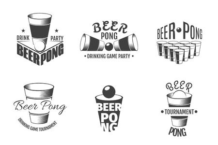 Beer pong labels. Illustration of emblem template for party vector Illustration