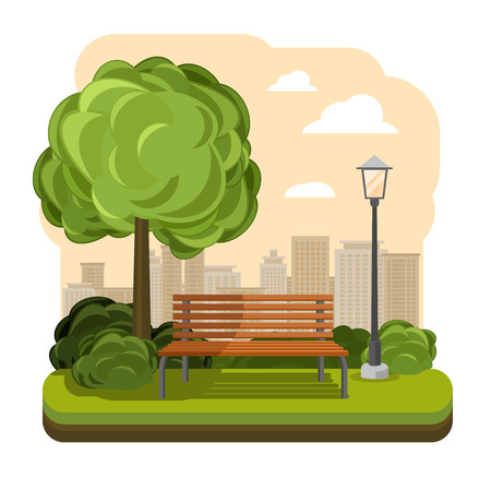 public house: Park with bench and streetlight vector. Illustration of green tree