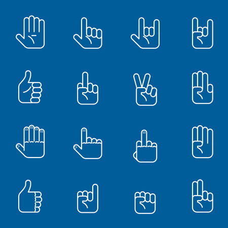 horn like: Hands line art icons and gestures thin line signs. Set of human arm. Vector illustration
