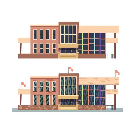 institute: School building on white background. Building university with flag, building of institute college in flat style. Vector illustration