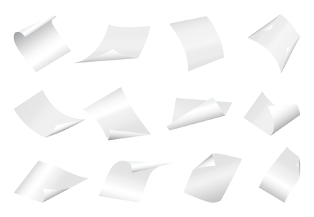 loose: Flying blank paper sheets with curved corner. Vector page on white background illustration