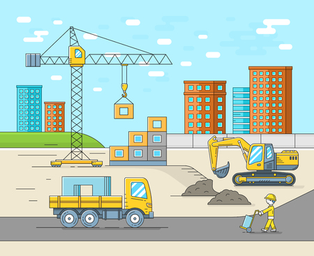 building site: House building construction in thin line flat style. Place for new house. Vector illustration