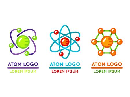 atomo: logo átomo situado en estilo plano. partícula microscópica nuclear. ilustración vectorial