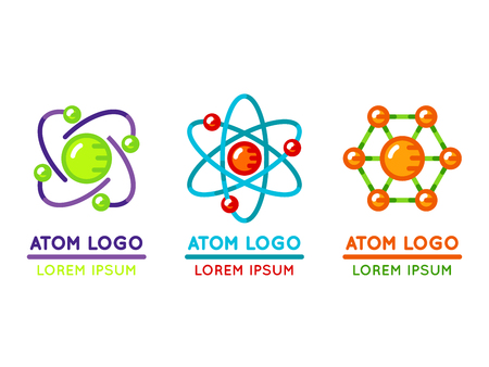 Atom logo set in flat style. Microscopic nuclear particle. Vector illustration Illustration