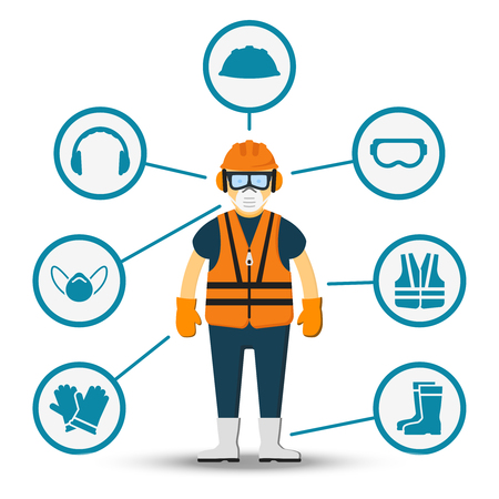 man at work: Worker health and safety vector. Illustration of accessories for protection