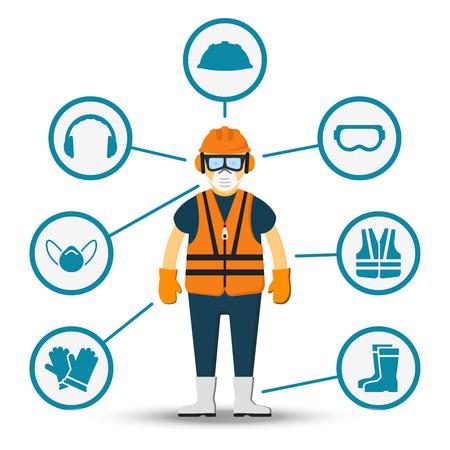 zdrowia i bezpieczeństwa pracowników wektorowych. Ilustracja akcesoriów do ochrony