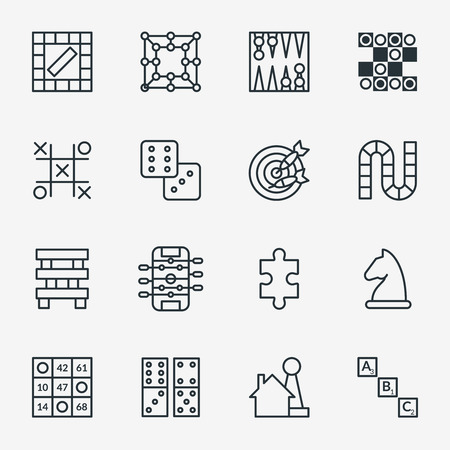 the enemy: Board and party games outline icons vector. Set of board for game, illustration of chess and domino Illustration